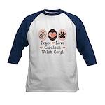 Peace Love Cardigan Welsh Corgi Kids Baseball Tee