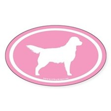 Golden Retriever Oval (wht on pink) Oval Decal