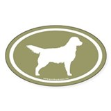 Golden Retriever Oval (wht on sage) Oval Decal
