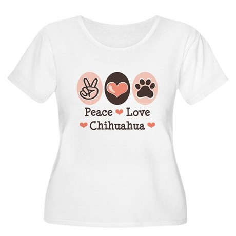 Peace Love Chihuahua Women's Plus Size Scoop Neck