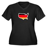 German American Women's Plus Size V-Neck Dark T-Sh