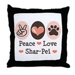 Peace Love Shar Pei Throw Pillow