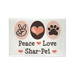 Peace Love Shar Pei Rectangle Magnet (100 pack)