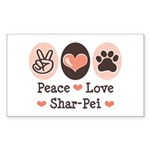 Peace Love Shar Pei Rectangle Sticker