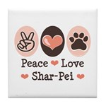 Peace Love Shar Pei Tile Coaster