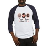 Peace Love Shar Pei Baseball Jersey