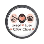 Peace Love Chow Chow Wall Clock