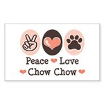 Peace Love Chow Chow Rectangle Sticker