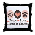 Peace Love Clumber Spaniel Throw Pillow