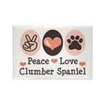 Peace Love Clumber Spaniel Rectangle Magnet (100 p