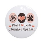 Peace Love Clumber Spaniel Ornament (Round)