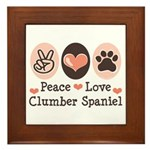 Peace Love Clumber Spaniel Framed Tile