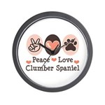 Peace Love Clumber Spaniel Wall Clock