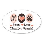 Peace Love Clumber Spaniel Oval Sticker