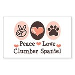 Peace Love Clumber Spaniel Rectangle Sticker