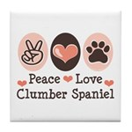 Peace Love Clumber Spaniel Tile Coaster