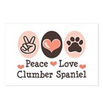 Peace Love Clumber Spaniel Postcards (Package of 8