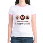 Peace Love Clumber Spaniel Jr. Ringer T-Shirt
