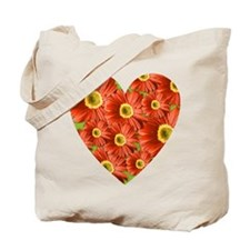 Red Gerbera Daisy Heart Tote Bag