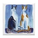 2 Cats Waiting Tile Coaster