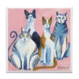 4 Cats Waiting Tile Coaster