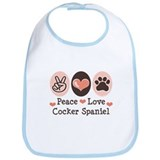 Peace Love Cocker Spaniel Bib