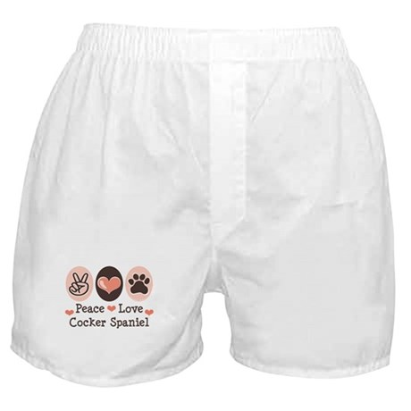 Peace Love Cocker Spaniel Boxer Shorts