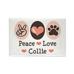Peace Love Collie Rectangle Magnet (100 pack)
