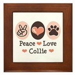 Peace Love Collie Framed Tile