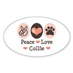 Peace Love Collie Oval Sticker