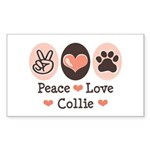 Peace Love Collie Rectangle Sticker
