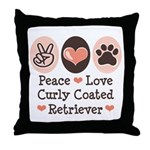 Peace Love Curly Retriever Throw Pillow