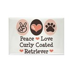 Peace Love Curly Retriever Rectangle Magnet (100 p