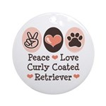 Peace Love Curly Retriever Ornament (Round)