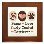 Peace Love Curly Retriever Framed Tile