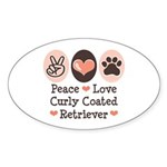 Peace Love Curly Retriever Oval Sticker