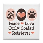 Peace Love Curly Retriever Tile Coaster