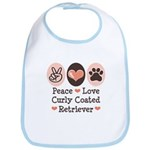 Peace Love Curly Retriever Bib