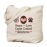 Peace Love Curly Retriever Tote Bag
