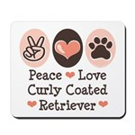 Peace Love Curly Retriever Mousepad