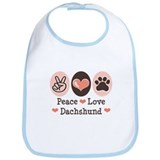 Peace Love Dachshund Bib
