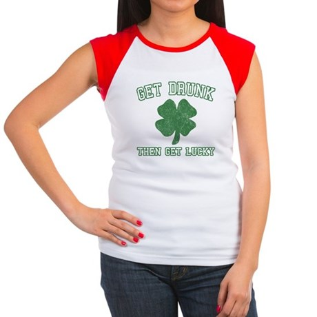 Get Drunk Get Lucky Womens Cap Sleeve T-Shirt