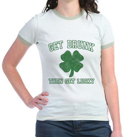 Get Drunk Get Lucky Jr Ringer T-Shirt