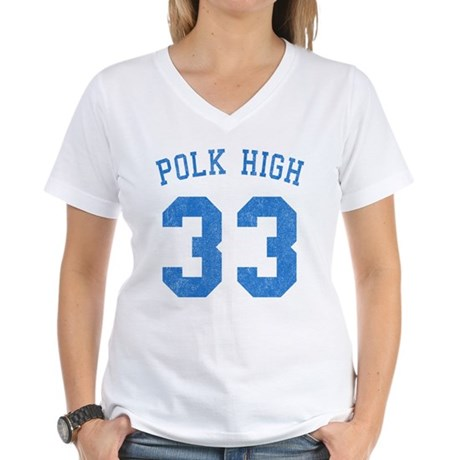 Polk High 33 Womens V-Neck T-Shirt