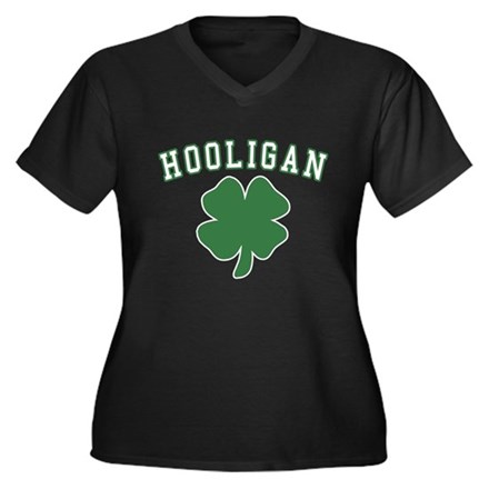 Irish Hooligan Womens Plus Size V-Neck Dark T-Shi