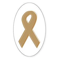 Gold Awareness Ribbon Oval Decal