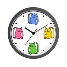 Funky Kat Klok - Cat Kids Wall Clock