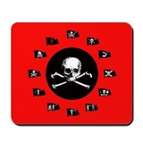 Pirate Flags, Red Jolly Roger Mousepad
