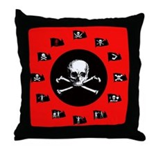 Pirate Flags, Red Jolly Roger Throw Pillow