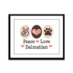 Peace Love Dalmatian Framed Panel Print
